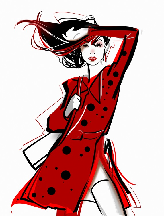 Fashion model posing in spotty red coat