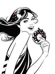 Portrait of young woman, smiling and holding donut