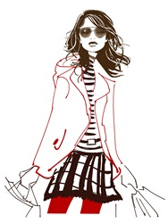 Portrait of young woman wearing sunglasses, jacket and mini skirt carrying shopping bags
