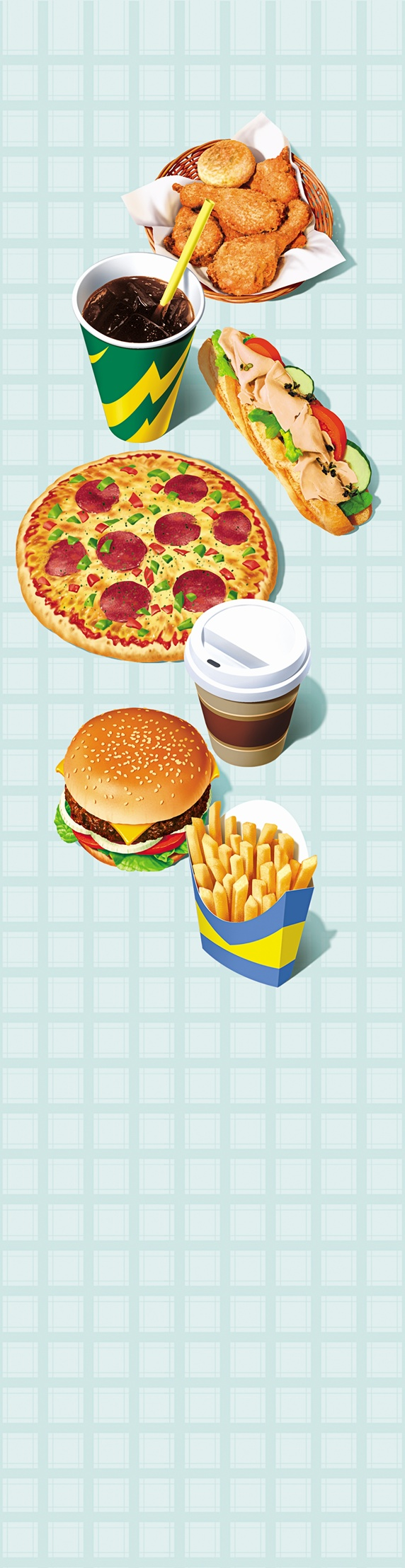 Range of unhealthy fast food