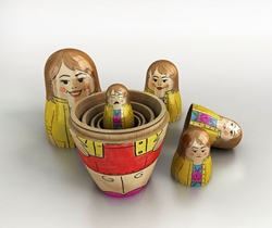 Small crying woman revealed inside of open nesting dolls in order of size and happiness