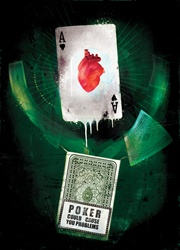 Ace of hearts and warning sign on black background