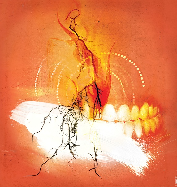 Human teeth and burning twigs on orange background