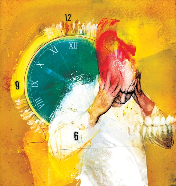 Man with headache and clock on yellow background
