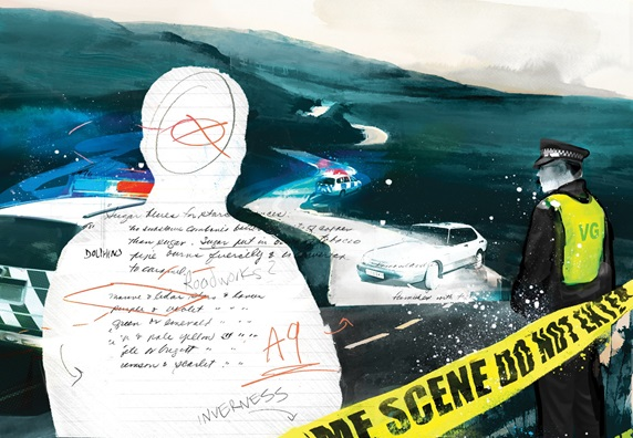 """Crime scene with policeman and cordon tape """
