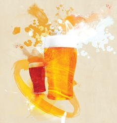Two glasses of beer on beige background