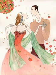 Romantic man and woman about to kiss among falling roses
