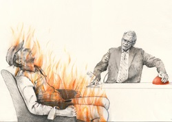 Man burning during talk show
