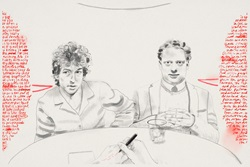 Bob Dylan and Dylan Thomas sitting at table