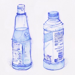Two bottles with beverages