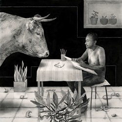 Cow looking at naked man sitting at table with notebook, black and white