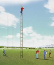People on lawn looking at man climbing ladder leading to sky