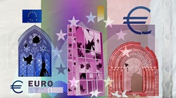 Euro banknote symbols breaking up and cracking