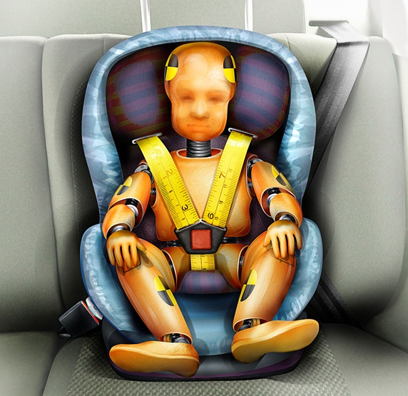 Child crash test dummy in car seat