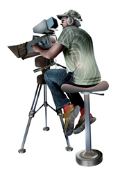 Camera operator sitting on stool