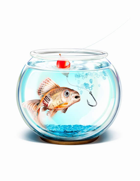 Fish hook trying to catch British pound goldfish in fishbowl