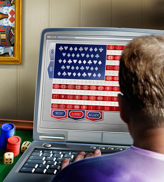 Man using laptop for online gambling