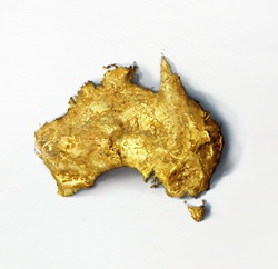Gold nugget on white background