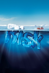 Boat approaching dangerous risk iceberg