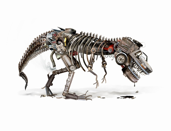 Oil drooling from dying automotive industry robot dinosaur