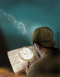 Sherlock Holmes reading newspaper through magnifying glass