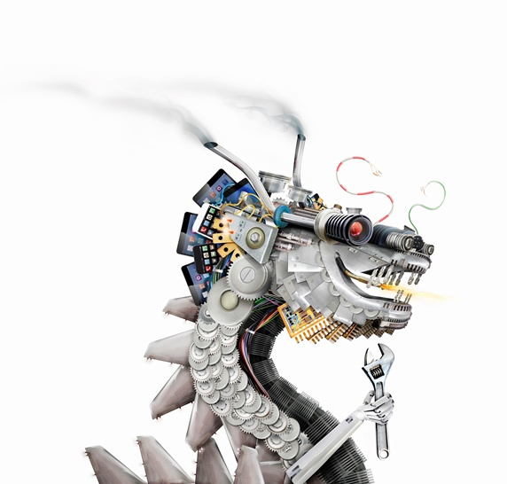 Chinese dragon made from machine parts, smart phones and circuit boards