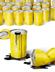 Yellow cans with black liquid