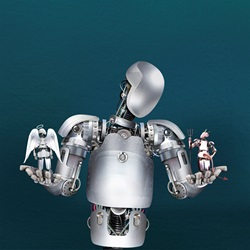 Robot weighing up good and evil robots