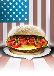 Burger with American flag in background