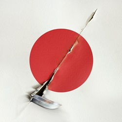 Knife cutting Japanese flag