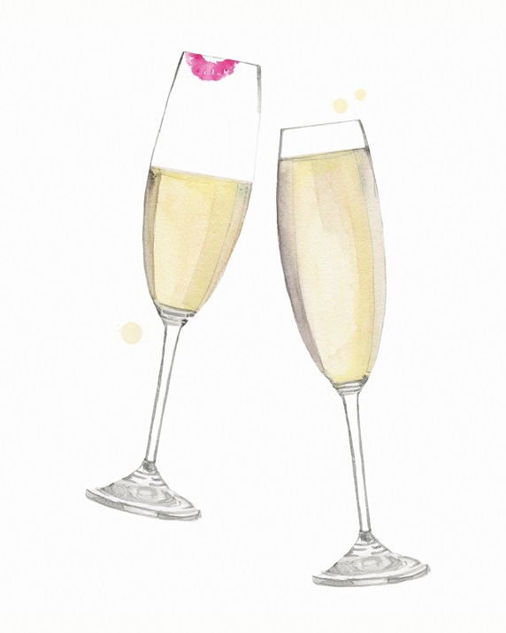 Champagne glasses clinking in toast