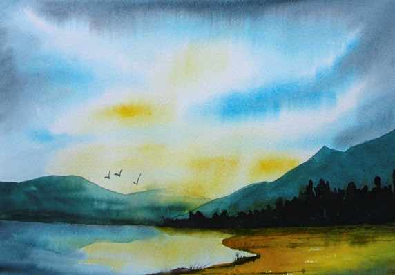 Watercolour painting of birds flying over lake at twilight