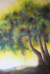 Painting of dappled trees