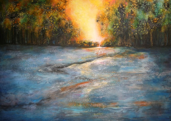 Painting of sunset over river floodplain