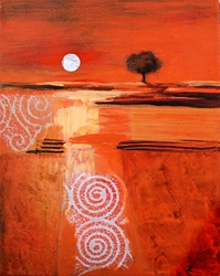Abstract red landscape at sunset