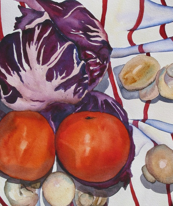 Still life with tomatoes, cabbage and mushrooms