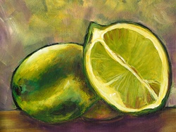 Still life of two limes