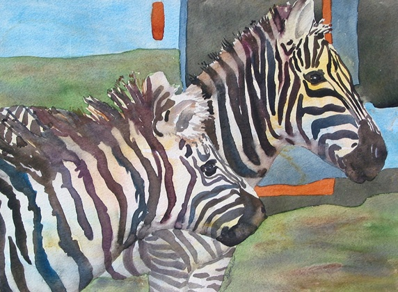 Two zebras in grass
