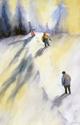 Children walking in winter landscape