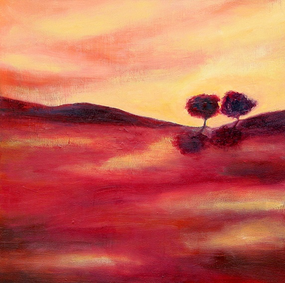 Trees in tranquil pink landscape