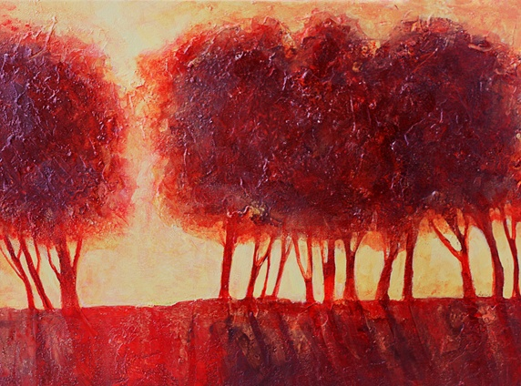 Back lit red trees