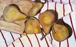 Pears on tablecloth