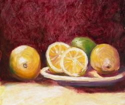 Still life with lime and oranges