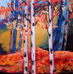 Bright color autumn trees and leaves in woods