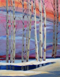 Birch trees at sunset