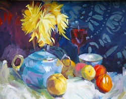 Still life with tea pot and fruits