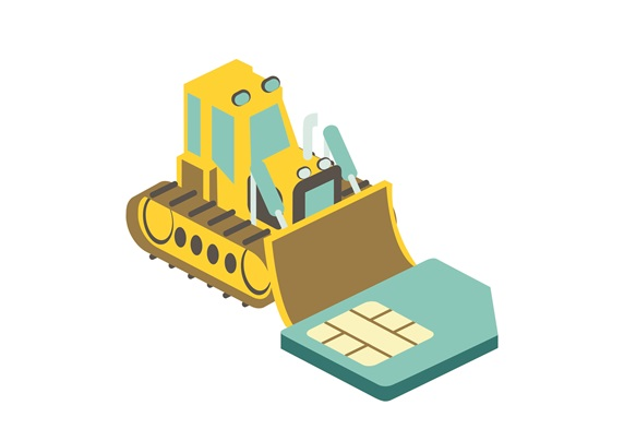 Bulldozer pushing computer chip