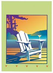 White deck chair with martini glass on armrest