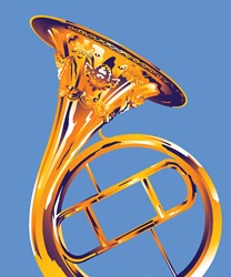 Trumpet on blue background