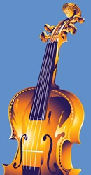 Cello on blue background